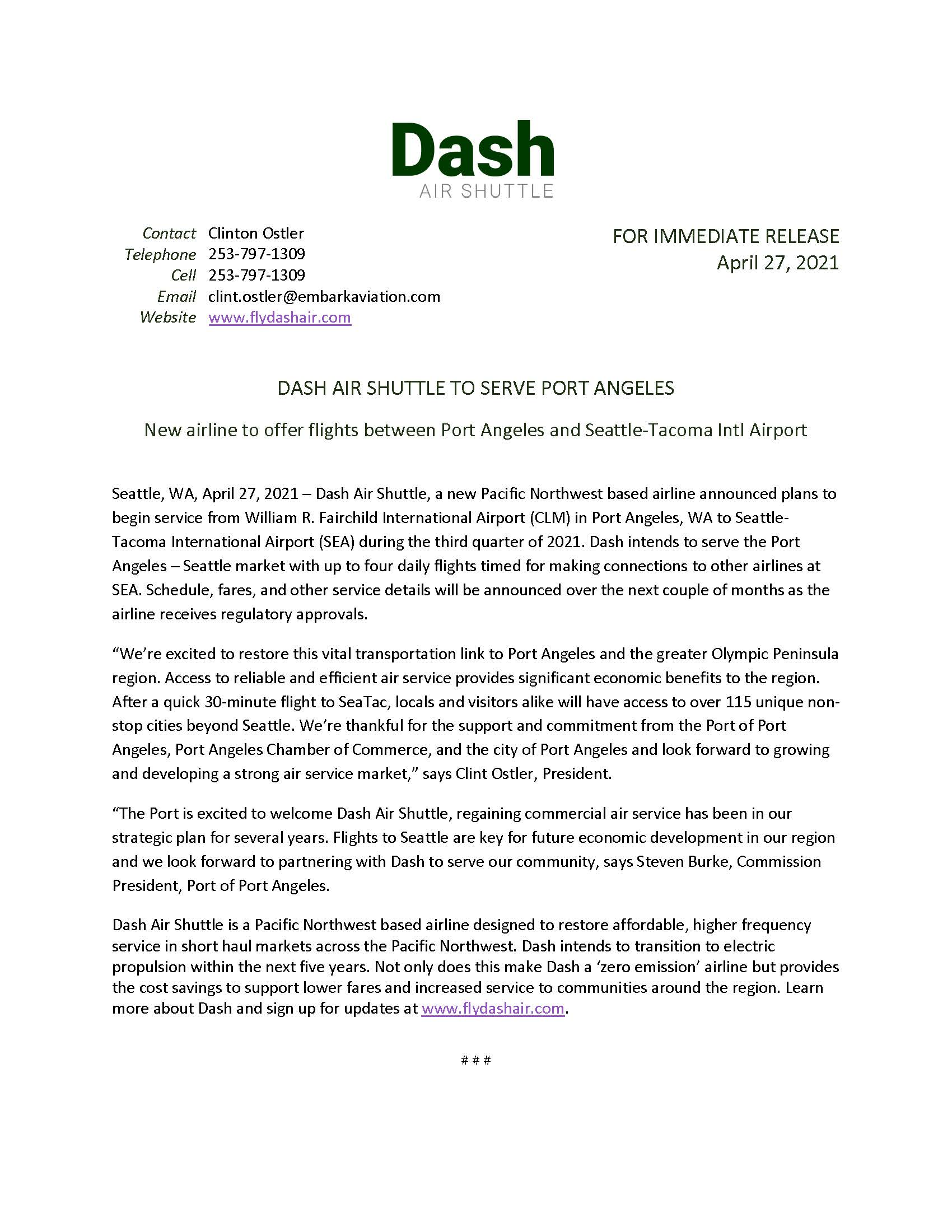 Press Release - Dash Air Shuttle Announcement
